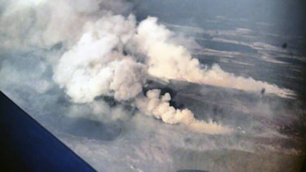 A forest fire burns near Tulita, N.W.T.