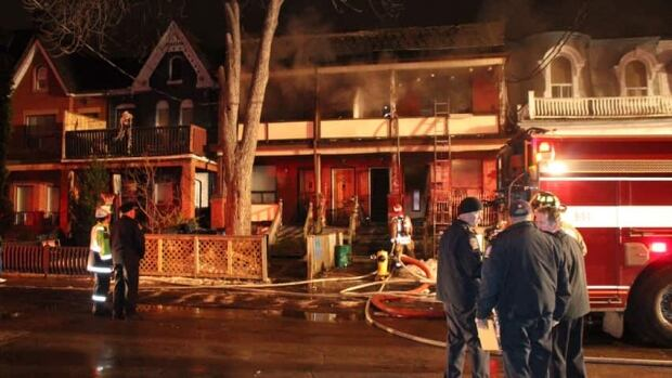 The fire started at the rear of a semi-detached house on Oxford Street at around 4:30 a.m.