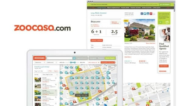Sample screen captures show how area maps and property listings appear on Zoocasa.com. The site uses MLS listings but attempts to present them in a simplified, graphically engaging format.