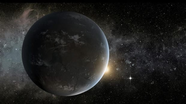 This artist's concept depicts Kepler-62f, a super-Earth-size planet in the habitable zone of its star. A neighbouring planet, Kepler-62e, is shown as a morning star.