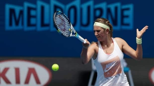 Victoria Azarenka makes a forehand return during a practice session at Melbourne Park as she prepares for next week's Australian Open.