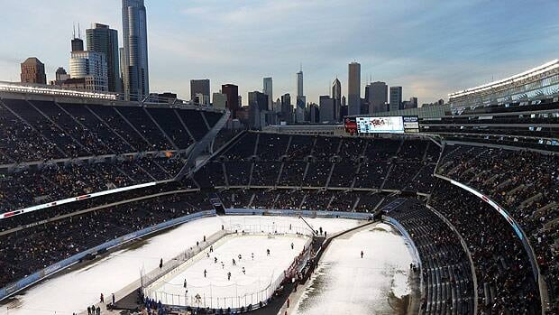Minnesota plays Wisconsin in the second period of a college hockey game at Soldier Field on Feb. 17.