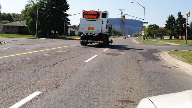 Painting the fresh lines on Thunder Bay streets started a little late this year becaue of the cool spring.