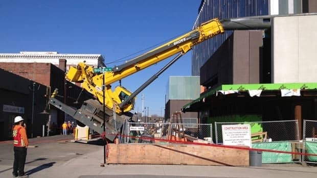 A construction crane crashed into the new Thunder Bay court house Monday morning.