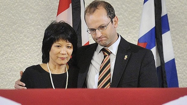 Olivia Chow and Mike Layton stand at the casket of NDP leader Jack Layton, placed to rest in Toronto City Hall in Toronto on August 25, 2011