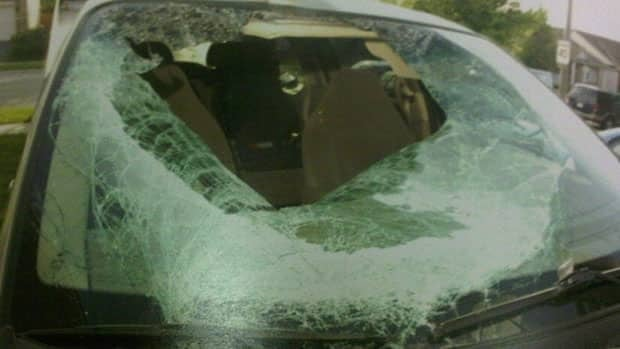 The front windshield of Sommit Luangpakham's vehicle was smashed in after the crash. The judge released the photo to the CBC after the jury was sequestered.