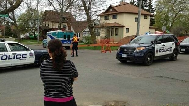 Police block off areas in Thunder Bay's north end. One resident near the Red River Road area said police told her there was a major gas leak and she was prevented from returning home Thursday morning.