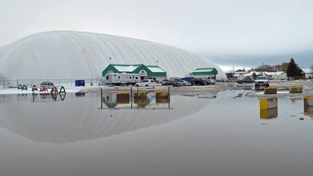 A recent dump of snow and warmer temperatures have resulted in huge puddles of water forming throughout Thunder Bay, including in the Canadian Lakehead Exhibition parking lot.