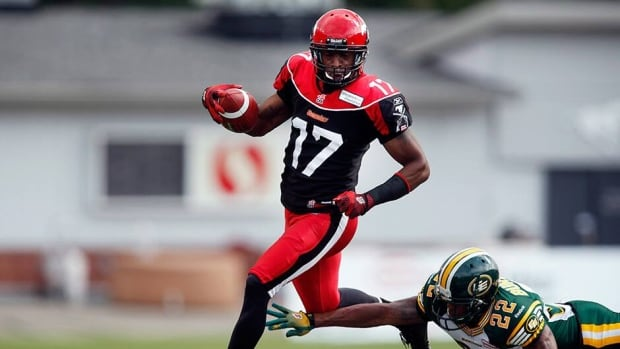 Price scored three touchdowns as the Calgary Stampeders beat rival Edmonton Eskimos on Labour Day.