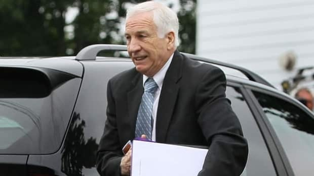 Jerry Sandusky arrives Tuesday morning at Centre County Courthouse in Bellefonte, Penn.