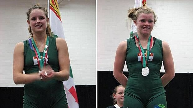 Lorena Ellis (left) and Hannah Taylor on the podium with their silver medals at the Canada Games in Sherbrooke.