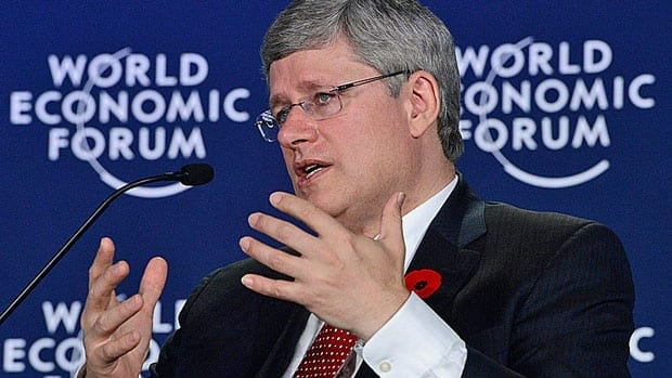 Prime Minister Stephen Harper delivers a speech at the World Economic Forum in Gurgaon, on the outskirts of New Delhi, India Wednesday.