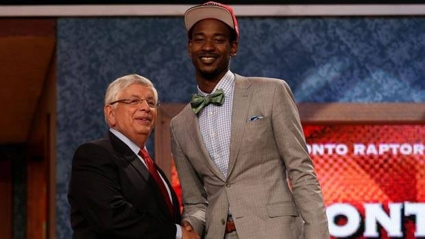 Terrence Ross from the University of Washington greets David Stern after getting selected eighth overall by Toronto.