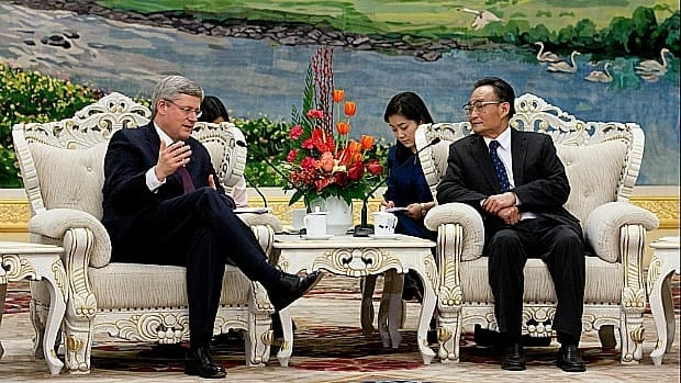 Prime Minister Stephen Harper meets with China's national people's congress chairman Wu Bangguo at the Great Hall of the People in Beijing on Thursday.