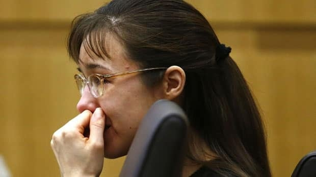 Jodi Arias cries as she listens to Steven Alexander, brother of murder victim Travis Alexander, make his victim impact statement during the penalty phase of thetrial in Phoenix.