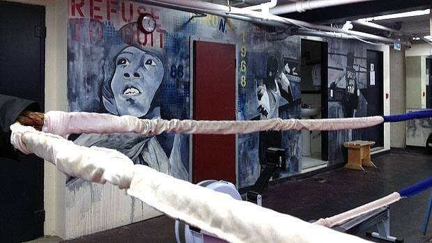 Youths who stay at Pan Am Place in Winnipeg get boxing training in this ring.