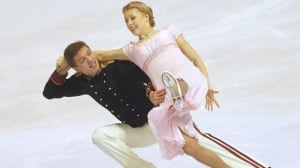 Ekaterina Bobrova and Dmitri Soloviev, of Russia, skate their short dance at the ISU European figure skating championship in Zagreb, Croatia, on Wednesday.