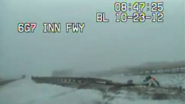 An Alberta RCMP cruiser dashboard camera recorded an encounter with black ice in October.
