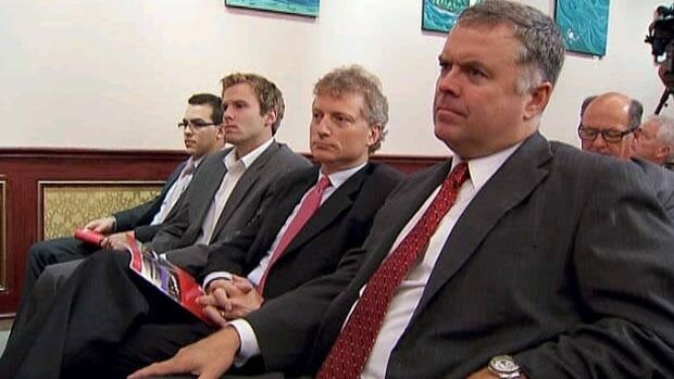 Former Liberal MP Brian Murphy, right, Liberal MLA Roger Melanson and potential leadership candidate Brian Gallant attend the party's renewal commission meeting on Thursday. (CBC)