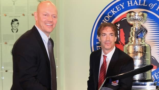 Former Quebec Nordiques teammates Joe Sakic, right, and Mats Sundin, left, now belong to the same 2012 Hockey Hall of Fame class.