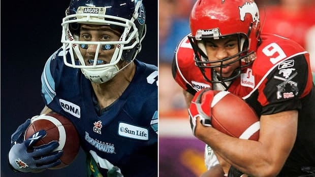 Who will win Grey Cup MVP honours? Argos receiver/kick-returner Chad Owens, left, who was named 2012 CFL most outstanding player on Thursday? Or, Stampeders running back Jon Cornish, right, who is the league's top Canadian for 2012.