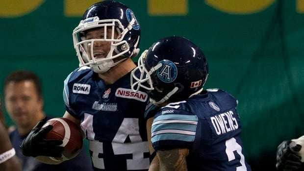 Argonauts' Chad Owens, right, congratulates Chad Kackert on his touchdown against the Hamilton Tiger-Cats in the first half on Saturday.