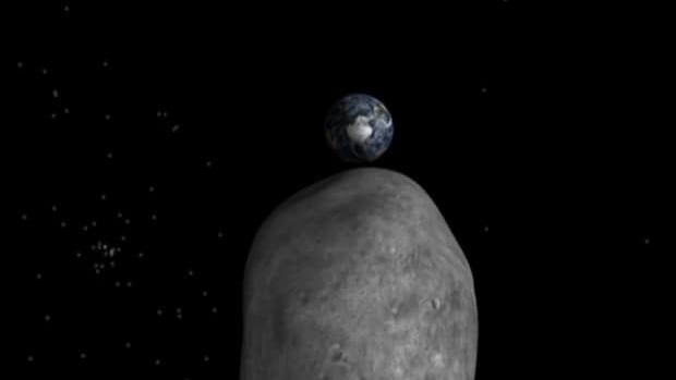 A simulation of the asteroid's view around 10:45 a.m. ET Friday.