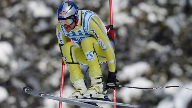 Aksel Lund Svindal of Norway skis during the men's downhill race at the Lake Louise Winterstart World Cup in Lake Louise, Alta. on Saturday.