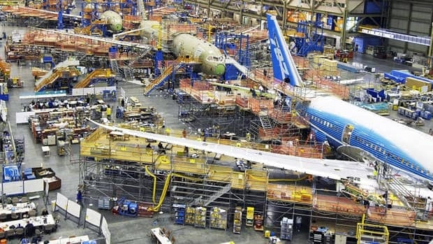 Workers assemble a Boeing 787 on the company's production line at Everett, Wa. The firm predicts industry sales of $4.5 trillion US over the next 20 years.