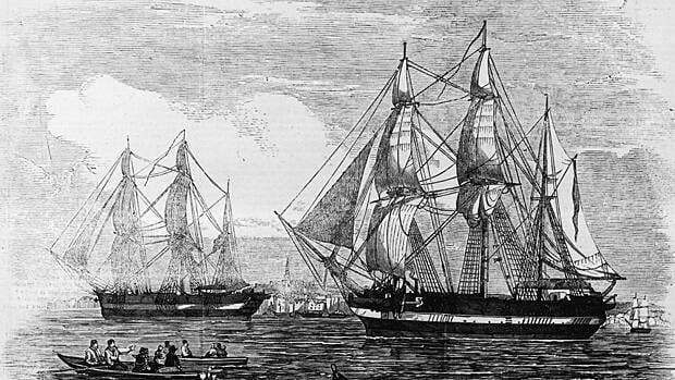 The lost vessels HMS Erebus and HMS Terror from Sir John Franklin's 1845 expedition, shown in an illustration from the Illustrated London News published on May 24, 1845. The ships feature in a play that mashes up the Franklin expedition with Mary Shelley's Frankenstein.