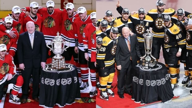 If it wasn't for the different coloured jerseys, even NHL deputy commissioner Bill Daly might have trouble telling the Blackhakws and Bruins apart.