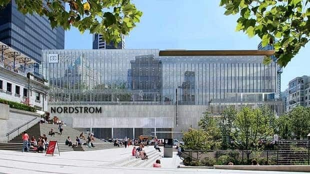 Images of the new Nordstrom building, as seen here from Howe Street, were released on Monday.