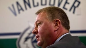 Vancouver Canucks' President and General Manager Mike Gillis speaks to the media in Vancouver, B.C., on Thursday May 9, 2013. The Canucks were eliminated from the 2013 Stanley Cup playoffs in four games by the San Jose Sharks. THE CANADIAN PRESS/Darryl Dyck