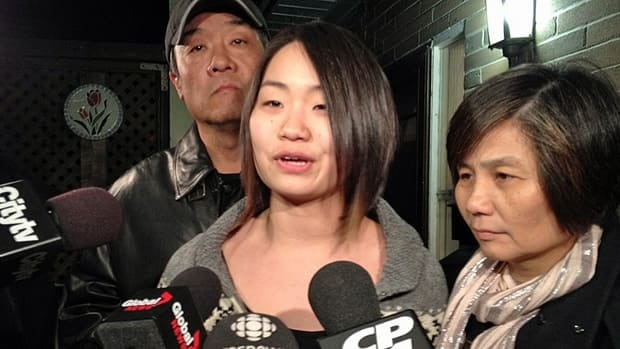 Michelle Yu speaks to the media after returning home from Vancouver (Ivy Cuervo/CBC)