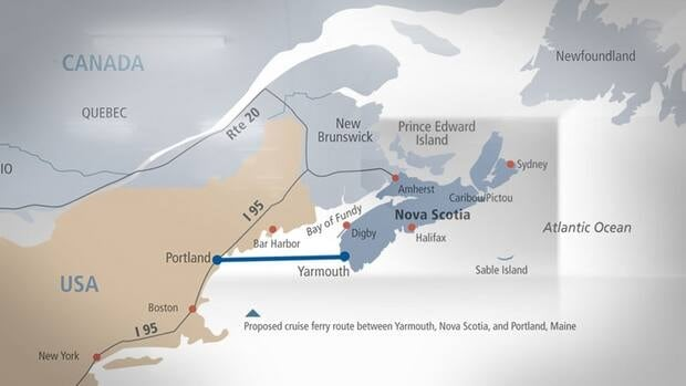 A map in the request for proposals for the Yarmouth Ferry from the Government of Nova Scotia.