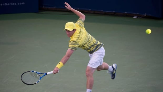 Canada's Jesse Levine returns the ball to Xavier Malisse during their match at the Rogers Cup in Montreal on Monday.