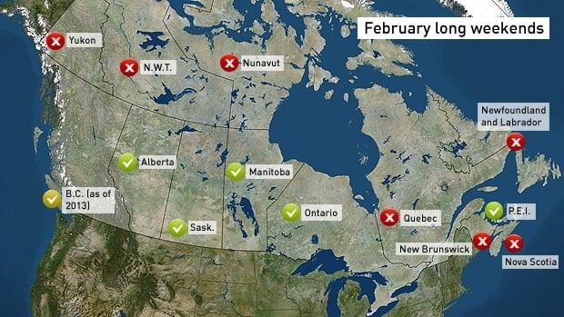 Five Canadian provinces observe a holiday on the third Monday in February. British Columbia will observe Family Day beginning in 2013.