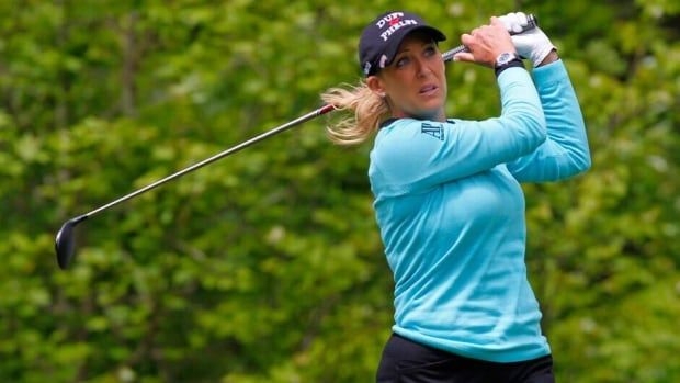 Cristie Kerr hits her tee shot on the sixth hole during the final round of the Kingsmill Championship at Kingsmill Resort on Sunday in Williamsburg, Va.