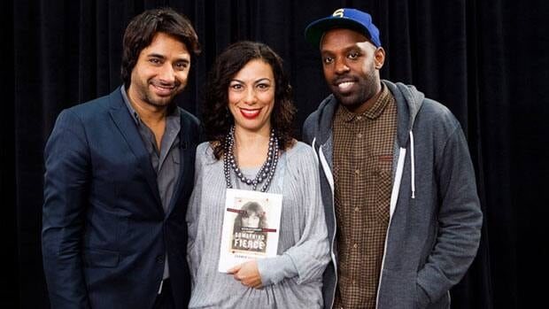 Author Carmen Aguirre, centre, with Canada Reads host Jian Ghomeshi, left, and Shad, right.