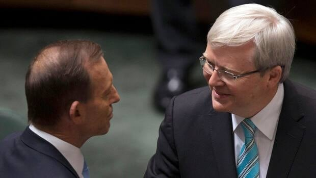 "Australian Prime Minister Kevin Rudd, on left and greeting Opposition Leader Tony Abbott,  said he's going into the election ""as the underdog."