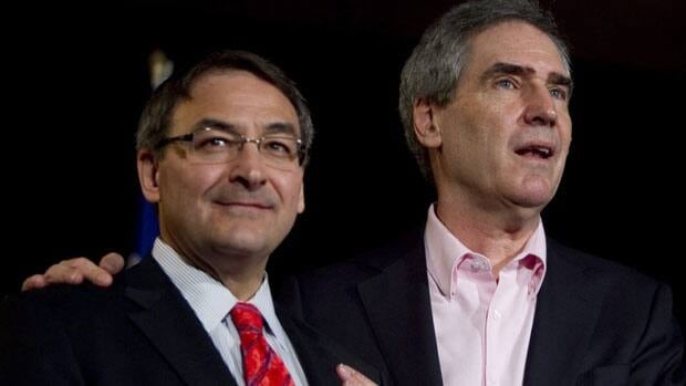 Martin Cauchon, left, made Sunday a late entry into the federal Liberal leadership race, becoming the 9th candidate, hours before the midnight deadline.