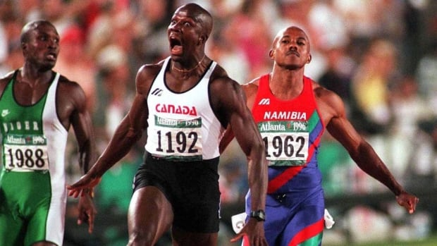 Canada's Donovan Bailey won the men's 100m final at the 1996 Atlanta Olympics in a world-record time of 9.84 seconds.