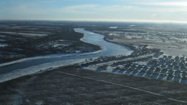 An aerial photo taken on Wednesday shows just how thin, or non-existent, the ice is on the Red River. This picture was taken near St. Andrews, north of Winnipeg.