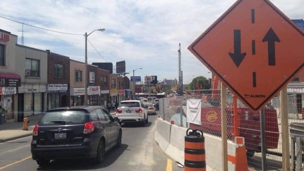Construction on the Eglinton Crosstown LRT is in full effect as traffic is down to one lane in each direction near Keele Street.