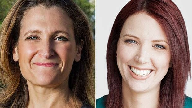 Chrystia Freeland, a journalist and author, left, is moving to Toronto from New York to run for the Liberal nomination in the upcoming Toronto byelection. Jennifer Hollett, right, a former MuchMusic VJ, documentarian and social media writer, is running for the NDP nomination.