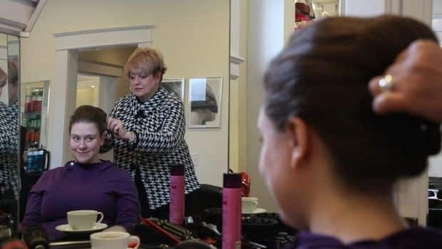 "Josie Rudderham, co-owner of Cake and Loaf bakery, called the opportunity to have her hair styled by Christine McKinnon ""a gift."""