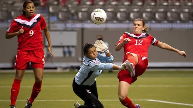 Canada's Christine Sinclair, right, scores a goal against Costa Rica goalkeeper Julieth Arias as Candace Chapman, left, watches during the first half on Monday night.