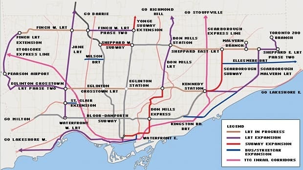 A depiction of the proposed OneCity Toronto transit expansion plan.