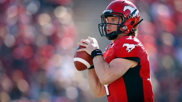 Drew Tate, injured much of the season, helped lead Calgary to a playoff win Sunday despite taking a big shot.