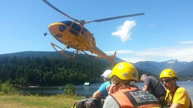 North Shore Rescue flight team gets ready to board helicopter at Cap Gate SAR Station.
